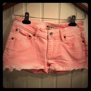 ROXY pink jean shorts.
